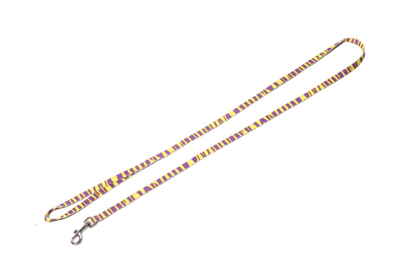 Поводок для собаки ленточный нейлоновый, желтая полоска