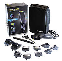 Машинка для стрижки волос Gemei GM835 с титановыми ножами 11 насадок, 20 вариантов длинны, чехол футляр