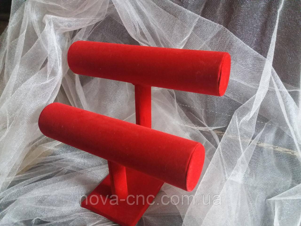 Выставочная велюровая браслетница, подставка для демонстрации красная