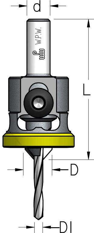 Зенковка с цилиндрическим хвостовиком и полимерным ограничителем D4,0/10,0