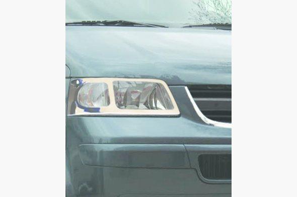 Накладки на передние фары (2 шт, нерж) Volkswagen T5 Transporter 2003-2010 гг.