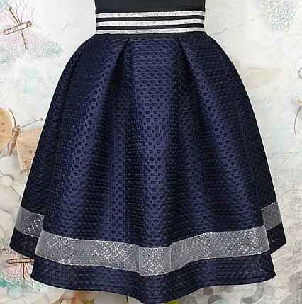 Подростковая  юбка для девочки р 152-164 темно-синий, фото 2