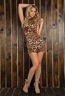 Женское леопардовое мини-платье с открытой спиной 819, фото 1