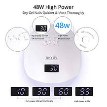 Гибридная UV/ LED лампа для сушки ногтей SKYUV 48W (100-240 V) белая + набор инструментов для маникюра, фото 3