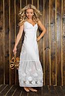 Женское летнее платье длинное макси из хлопка 825 Белое