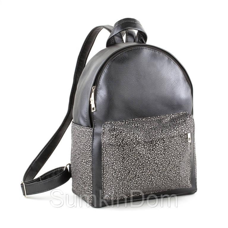 Рюкзак Fancy черный титан с серебряным узором, фото 1