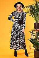 Длинное платье с воланами Пальмы на черном, фото 1