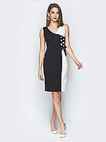 Черно белое молодежное платье со шнуровкой (S)