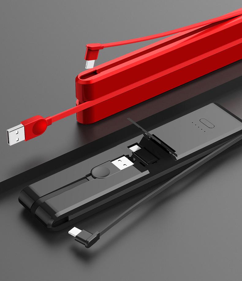 PowerBank 5000mAh 3в1: портативний кабель для передачі даних Type-C, USB, micro-USB, Apple. Швидка Зарядка