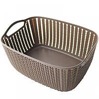 Ящик, корзина для хранения в ванной коричневая