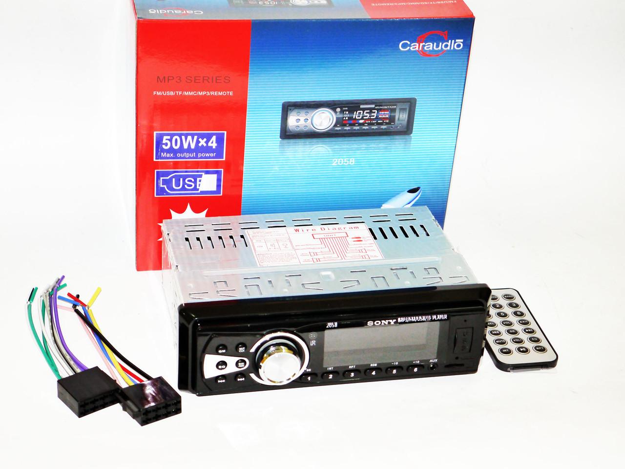 Автомагнітола Sony 2058 Usb+Sd+Fm+Aux+ пульт (4x50W)