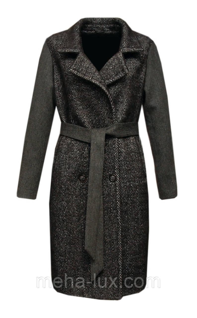 Пальто Rr с поясом кокон удлиненное темно-серое