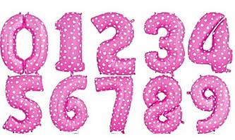 Шары цифры розовые 35см.