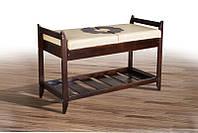 Деревянная Лавка для обуви № 4, сиденье кожзам бежевого цвета, 580 х 900 х 400