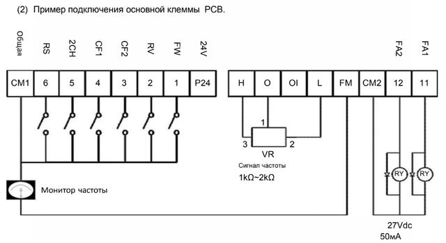 Приклад підключення Основний Клеми - N700E - таблиця