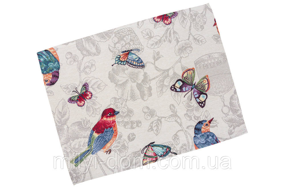 "Салфетка под тарелку  ""Птицы, бабочки"", 34х44 см"