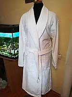 Белый длинный банный махровый халат мужской, для гостиниц, саун, бань 100% Хлопок, Турция