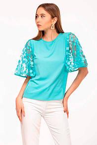 Бирюзовая блуза ABELLA с широкими кружевными рукавами