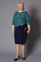 Женское платье в модный растительный узор с 3/4 рукавом
