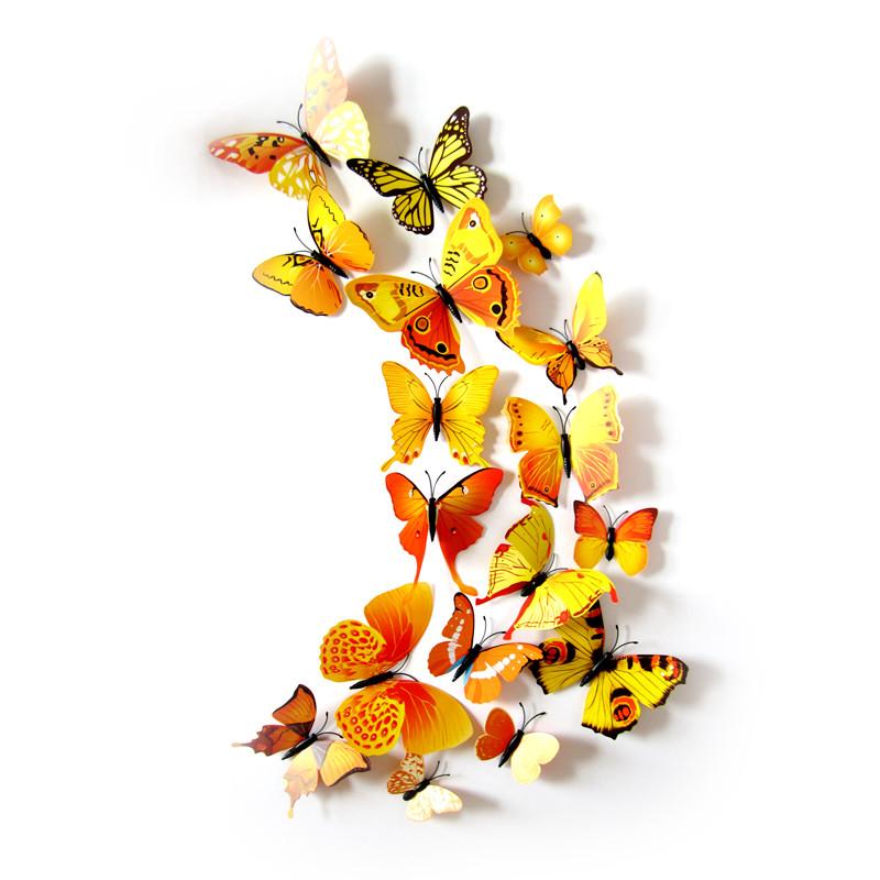(12 шт) Набір метеликів 3D на магніті, ЖОВТІ кольорові