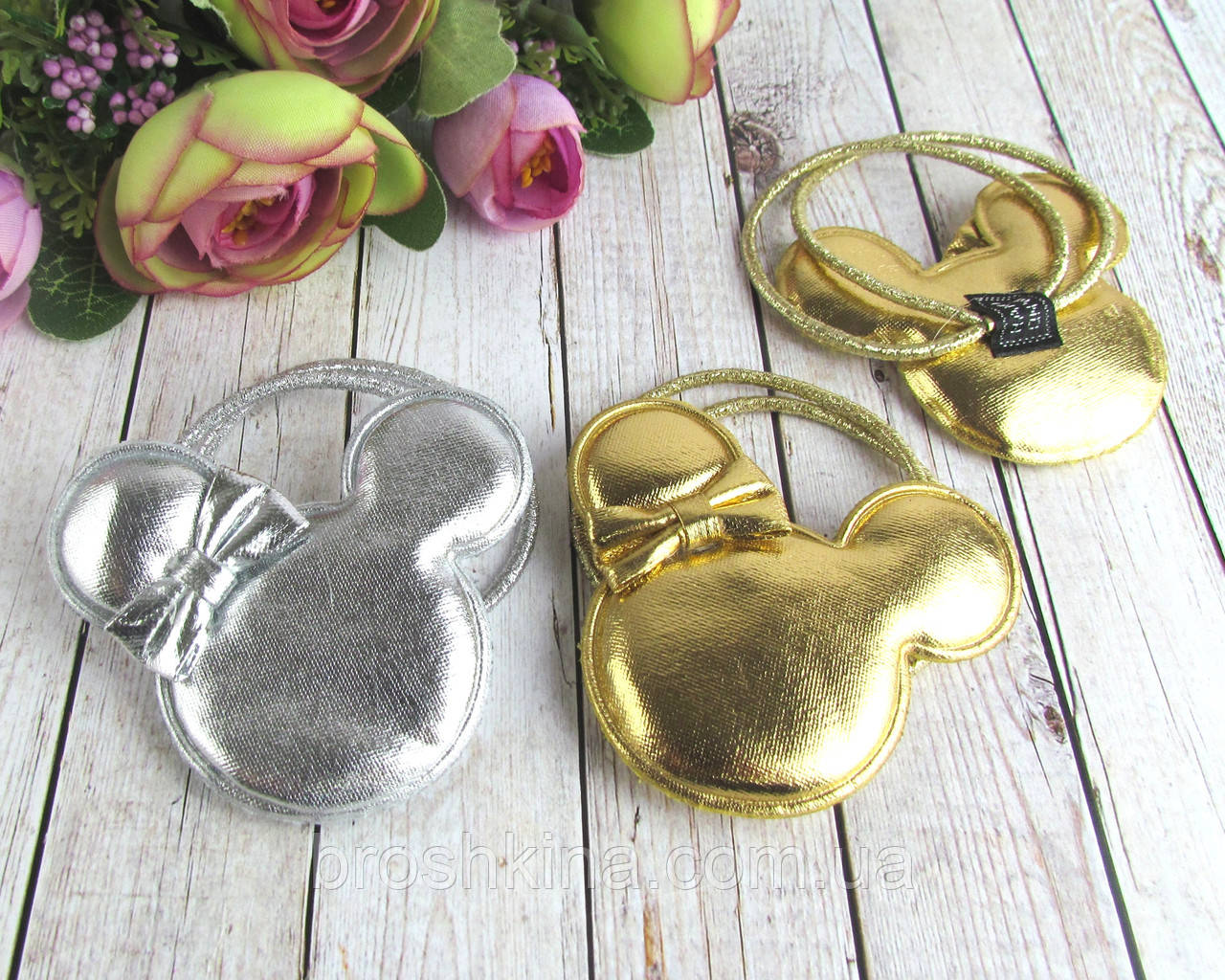 Резинки для волос Микки Маусы под кожу золото+ серебро 12 шт/уп.