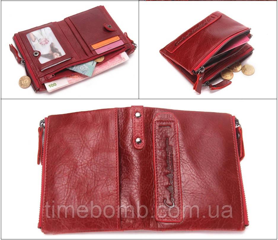 f67401ea3218 Женское кожаное портмоне Contacts с боковыми карманами красное