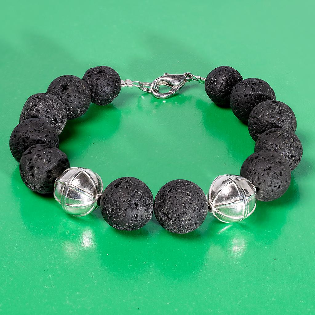 Вулканит лава, Ø12 мм, срібло, браслет, 534БРВ