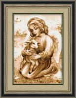 Набор для рисования камнями (холст) «Ангел с козленком» LasKo