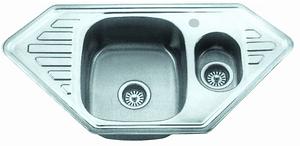 Мойка для кухни из нержавеющей стали врезная угловая двойная 100*50