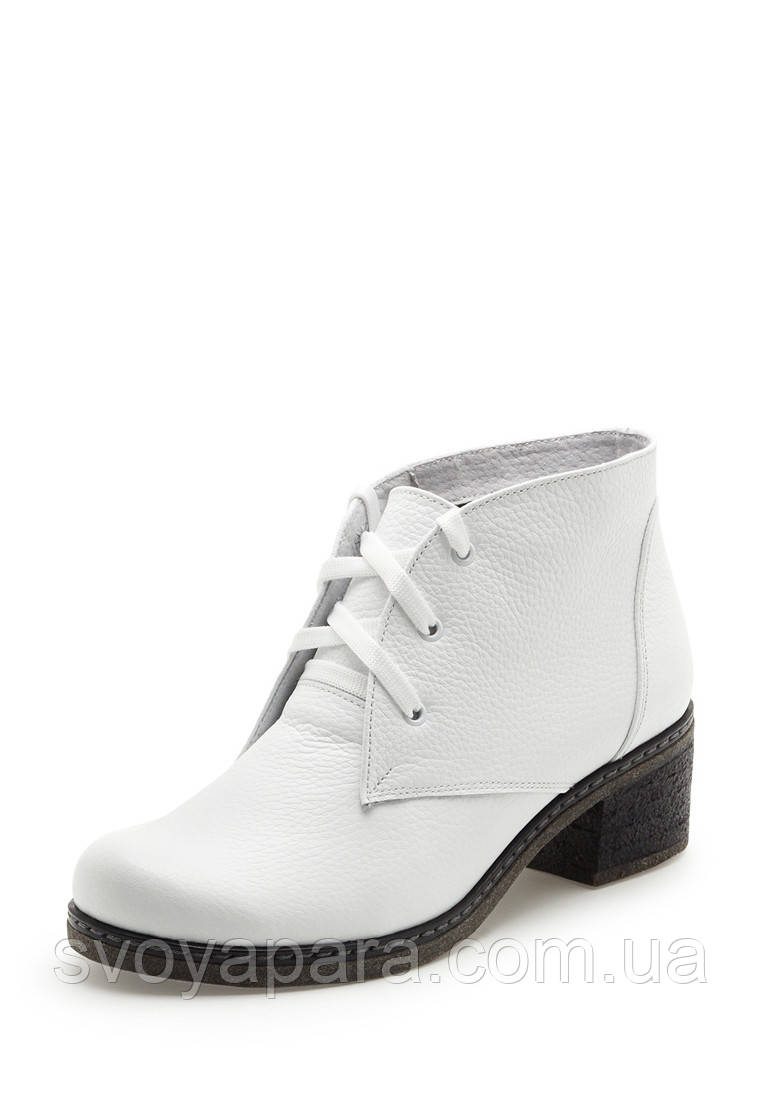 27ac59ac0 Женские демисезонные ботинки белого цвета из натуральной кожи на подошве с  каблуком
