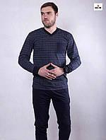 Мужская летняя пижама хлопковая синяя кофта со штанами 48-60р.