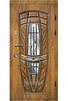 Двери входные  уличные  АРМА 203-8. Входные двери для частного дома. Входная дверь с ковкой и стеклом
