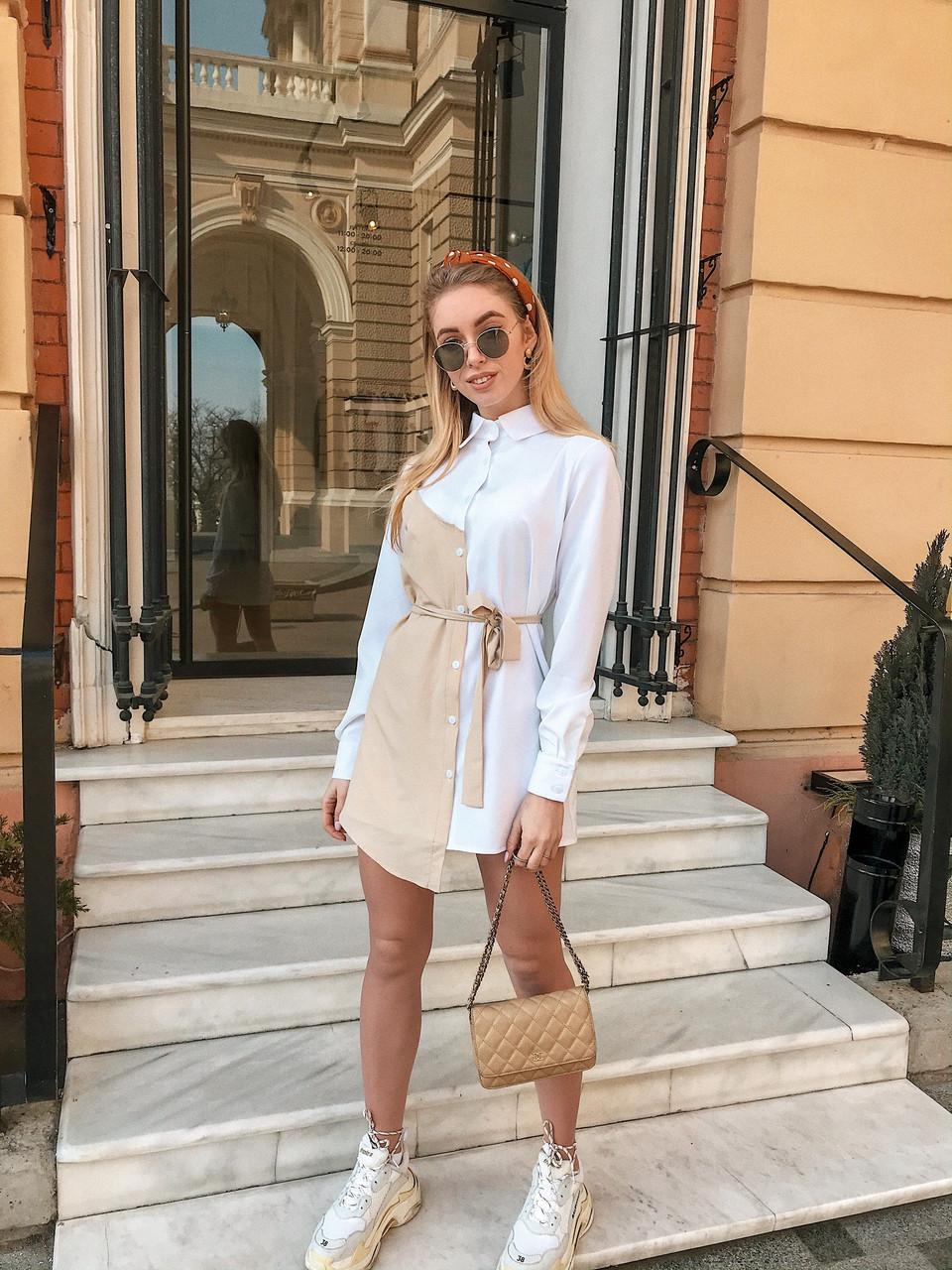 Модное платье-рубашка с асимметрией