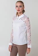 Белая блузка с кружевными рукавами