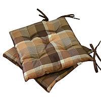 Подушка на стул Toffee коричневая клеточка