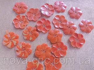 Пайетки цветок 27 мм оранжевый хамелеон 250 грамм