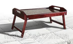 Столик для завтрака стекло кофе 250 х 550 х 350, массив ольха
