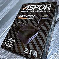Сетевые зарядные устройства ASPOR Carbon series 2USB/2.1A + USB кабель micro-USB, фото 1