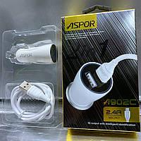 Автомобильные зарядные устройства ASPOR 2USB/2.4A + USB кабель micro-USB, фото 1
