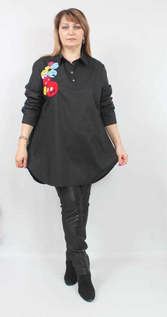 Турецкая женская черная туника, больших размеров 52-62