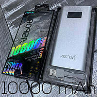 Power Bank ASPOR 10000 mA/h 2USB/2.4A iQ Metal, быстрая зарядка, павербанки для гаджетов