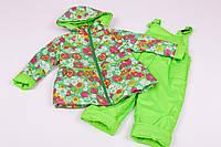 """Демисезонный костюм комбинезон для девочки """"Колокольчик"""" зеленый в цветы"""