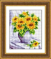 Набор для рисования камнями (холст) «Подсолнухи в вазе» LasKo