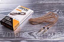 AUX кабель ASPOR Nylon 3.5 mm/1.5 m, провода акустические стерео