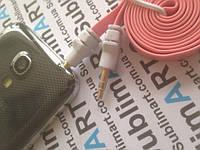 AUX кабель плоский розовый mini-jack, 1 м.