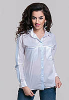 Белая рубашка комбинированная с тканью в полоску