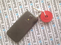 AUX кабель плоский красный mini-jack, 1 м.