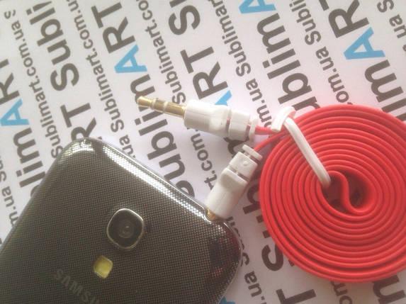 AUX кабель плоский красный mini-jack, 1 м., фото 2