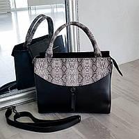 Черная с принтом питона классическая сумка АРТ. 01102, фото 1