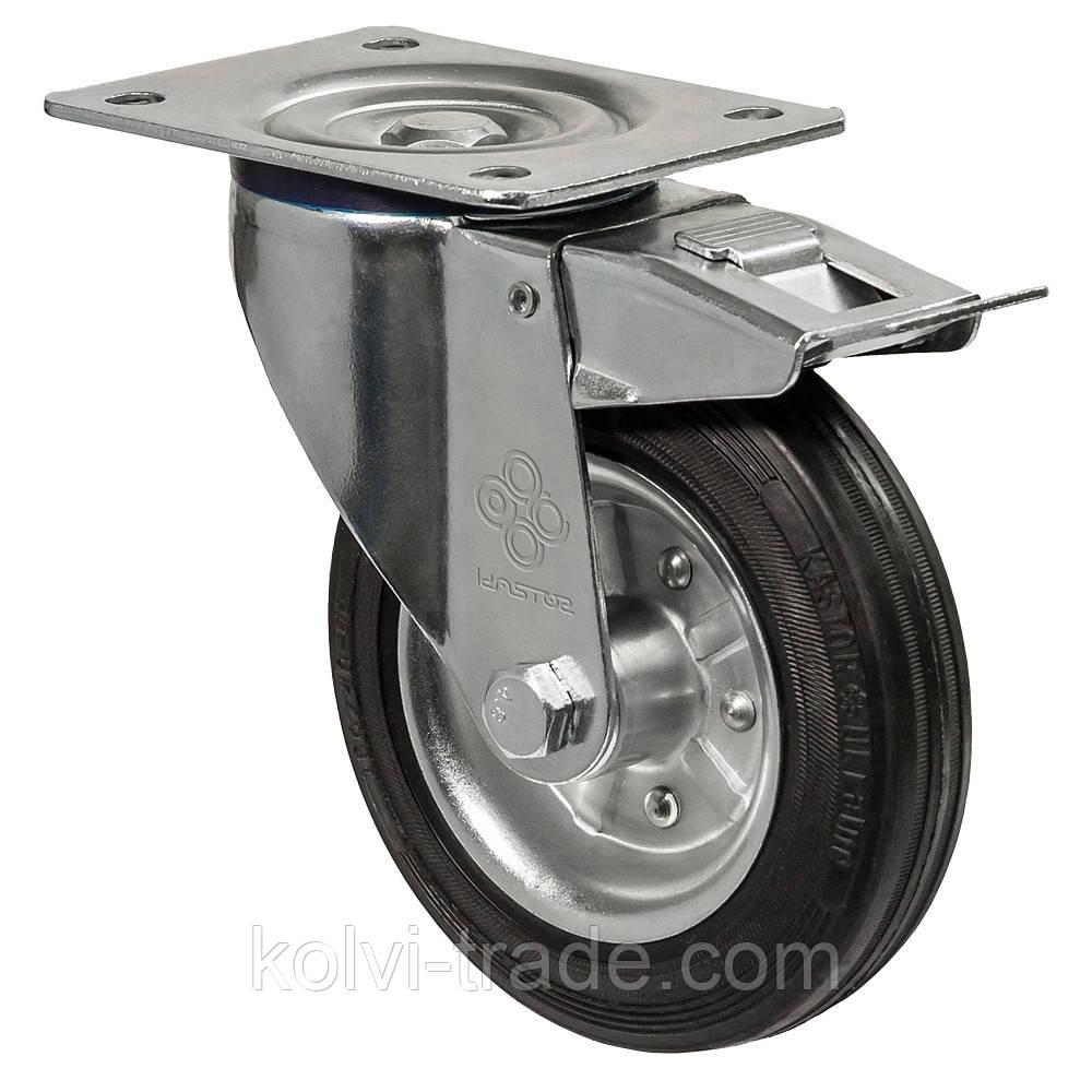 Колеса поворотные с крепежной панелью и тормозом Диаметр: 80мм. Серия 31 Norma